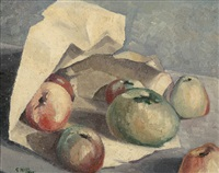 untitled (still life with apples) by godfrey clive miller