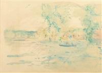 la haute-seine (étude pour le tableau de 1893 du même nom) by berthe morisot