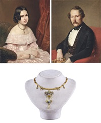 házaspár portréja (pair) (+ necklace worn by sitter) by georg raab