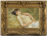 reclining female nude by vlacho bukovac