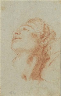 the head of a young man looking up to the left: study for the death of hyacinth by giovanni battista tiepolo