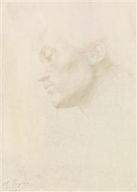tête d'homme au profil by alphonse legros