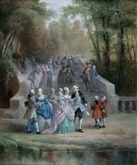scène galante dans un parc by léonard saurfelt