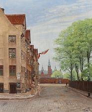 view from rosenborggade towards rosenborg castle by christian tom-petersen