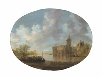 a river landscape with soldiers and peasants on a ferry, a castle beyond by jan josefsz van goyen