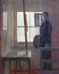 studio window with self portrait by nicolas granger-taylor