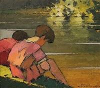 enfants au bord de l'eau by frederic fiebig