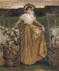 portrait de dame avec gerbe de fleurs by walter vaes