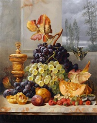 still life of fruit on a marble ledge by charles e. baskett