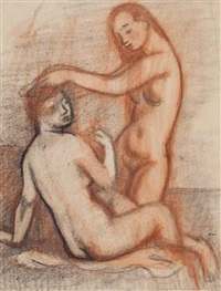 two female nudes by georges (karpeles) kars