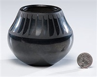 san ildefonso blackware pottery jar by maria and santana martinez