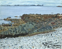 a view of tory island with figures on the foreshore by maurice macgonigal