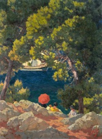 the red umbrella, vrelos, spetses by nicholaos othoneos