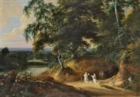 moines chartreux en prière devant un reposoir et voyageurs dans un vaste paysage by jacques d' arthois