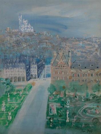 Vue aérienne de Paris le jardin des Tuileries et la ...