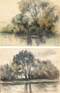 paysages aux arbres près d'un étang deux by maximilien luce