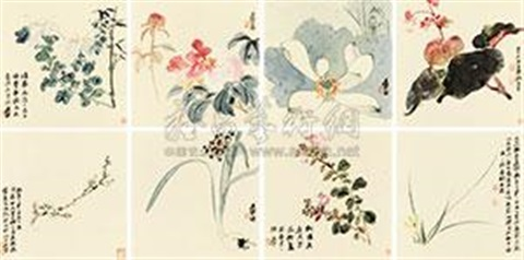 花卉册 the flower album w8 works by zhang daqian