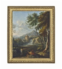 an italianate river landscape with classical figures conversing, a waterfall beyond by jan frans van bloemen