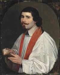 portrait of a cleric, half-length, in a white surplice and crimson stole, holding a book, in a feigned oval by philippe de champaigne