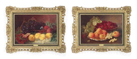 a glass dish of raspberries with a salver salver with peaches and white currants on a table a cut glass dish with grapes and plums a butterfly perched on the rim of the dish on a marble ledge pair by eloise harriet stannard