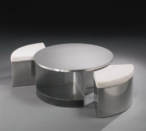 two seater tambour table set of 3 by maria pergay