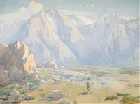 navajo shepherd with flock, high sierras by marion kavanaugh wachtel