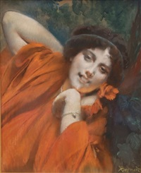 portrait de femme en rouge by albert besnard