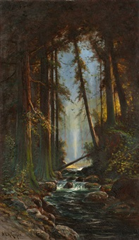 stream through wooded forest by astley david middleton cooper