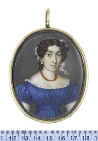 a lady, wearing blue décolleté dress with ruched cap sleeves and waist belt, white lace trim, multi-stranded coral necklace, diamond pendent earrings by johannes baptista van acker