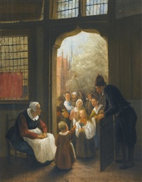 pinksterbloem (the whitsun bride), a procession of children standing before the door of a home by jan steen