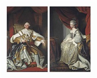portrait of king george iii (1738-1820), full-length, in robes of state, in an interior; and portrait of queen charlotte (1744-1818), full-length, in coronation robes, in an interior (pair) by joshua reynolds
