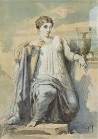 sapho (jeune femme au vase) by gustave moreau