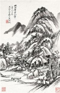 仿西庐老人笔 立轴 水墨纸本 (painted in 1932 landscapes) by wu hufan