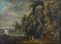 personnages dans un paysage by jacques d' arthois