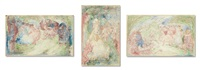 personnages dans un parc (3 works) by james ensor