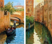 veduta veneziana (+ another, smllr; 2 works) by roberto d' ambrosio