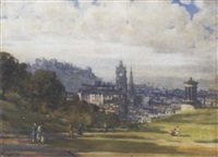 view of edinburgh from calton hill, looking down princes street by andrew douglas
