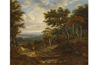extensive landscape with figures and dog on a path at the edge of a wood by patrick nasmyth