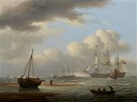 a britsh frigate in stays off teignmouth by thomas luny