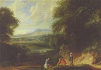 an extensive wooded landscape with fishermen and sporstmen by philippe van dapels