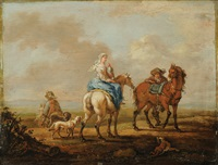 a pair of paintings depicting falconers by august querfurt