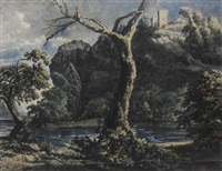 a rugged river landscape with a castle on a hilltop by jacob van liender