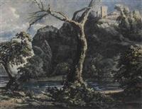 a rugged river landscape with a castle on a hilltop by jacob van liender