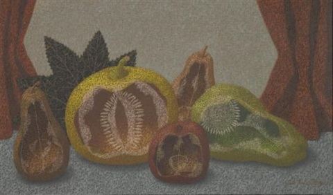 still life with pears apple and squash by john armstrong