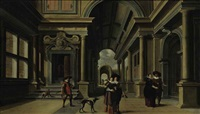 elegant figures in a courtyard by dirck van delen