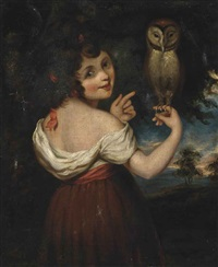 a girl, possibly athena, in a white chemise and red dress holding an owl, in a landscape by john opie