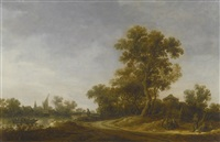 landscape with travellers conversing on a sandy path with fisherman on a river beyond by jan josefsz van goyen