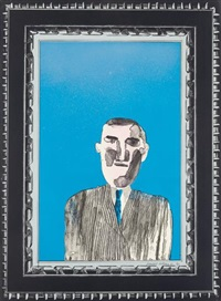 picture of a portrait in a silver frame, from a hollywood collection by david hockney