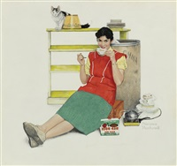 pregnant woman drinking tea by norman rockwell