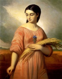 fiatal leány búzavirággal (young girl with wheat-ear) by károly jacobey